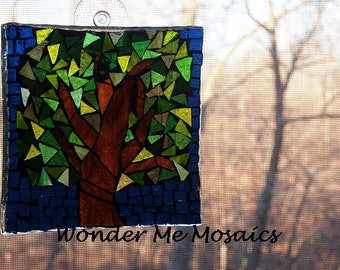 30% OFF SALE  Stained Glass on Glass Mosaic - Blue Green Geometric Suncatcher
