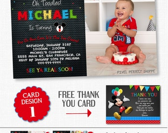 MICKEY MOUSE INVITATIONS, Mickey Mouse Birthday, Birthday Invitation, Mickey Mouse, Mickey Mouse Birthday Invitation, Chalkboard Invitations
