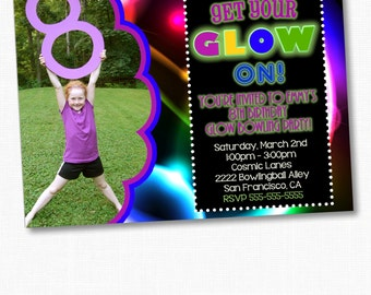 Glow In The Dark Party Invitation, Glow Party, Glow Bowling Invitation, Birthday Invitation, Glow Birthday Party