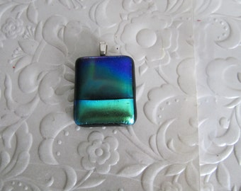 "Dichroic Pendant - Fused Dichroic Jewelry - Dichroic Glass - Glass Jewelry - Measures 1"" x 1"" (approx.)"