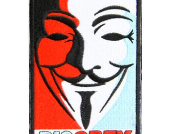 """3.8"""" DISOBEY guy fawkes mask Embroidered Iron on patch rebellion ATTITUDE  punk rebel riot"""