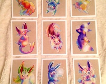 Eeveelutions PRINT set of 9