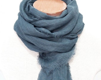 Steel Blue Linen Scarf, Hand Dyed, Blue Gray Linen Scarf, Linen Gauze, Blue Scarf, Mens Minimalist Unisex, European Linen, Made in USA,