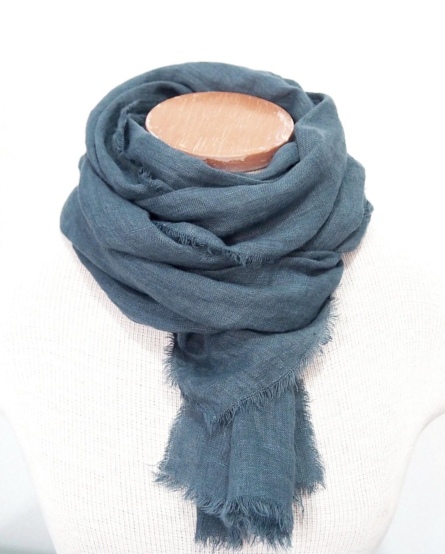 steel blue linen scarf dyed blue gray linen scarf