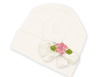 Baby Girl Beanie, Baby Girl Hat Ivory with Satin Bow and Pink Rosette, Newborn Take Home, Baby Girl Accessories, Truffles Ruffles