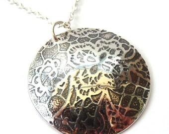 Silver pendant necklace , etched silver pendant lace design
