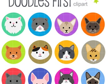 Cat Breeds Collage Sheets for Scrapbooking Card Making Cupcake Toppers Paper Crafts Digital Collage Sheet