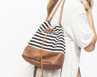 Canvas Bucket bag, Handmade Bag, Canvas and leather bag, Drawstring bag, Leather bucket bag, Handmade bucket bag, Summer bag,  Sale!