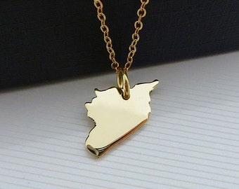 14K Gold Plated Syria Necklace - Syria Map Necklace - 14k Gold Necklace - Love Syria Necklace - Syria Pendant