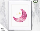 Gamma Phi Beta Crescent Moon | Watercolor Wall Art Print | Sorority Big Little Reveal Gift | Officially Licensed | GPB-CP