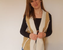 Suedette Waistcoat Brown. Size Small-Medium. Women's outdoor clothing. Winter. Casual. Handmade. Gillet. Decorative Seams. Winter Vest.