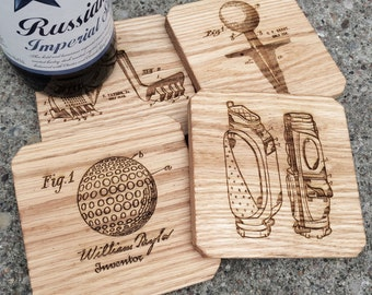 Golf Gift Oak Wooden Coasters, Set of 4