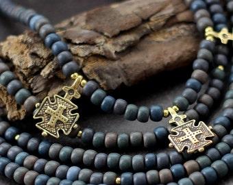 Ukrainian Ceramic Bead Necklace with Hutsul Cross - cross necklaces for women