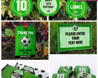 soccer birthday party invitations decorations full collection instant download edit and print - Soccer Party Invitations