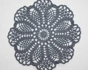 Small Gray Crochet Doily, Round Doily, Lace Doily, Gray Flower Doily, Pineapple Doily, Cotton Doily, Table Topper, 9 inches