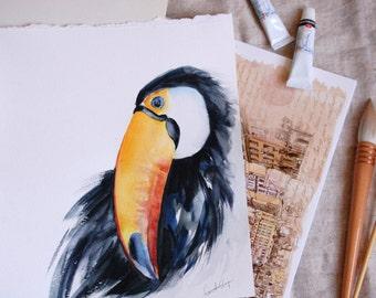 Original Watercolor Painting, Toucan Bird Painting, Tropical Bird Watercolour Art