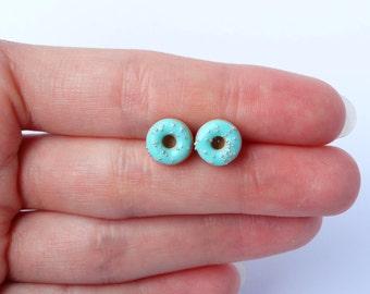 Miniature cute mint green blue with sprinkles donut post earrings blue donut ear studs stud earrings charms kawaii sweet silly food jewelry