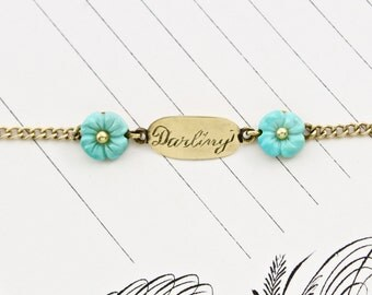Antique 14k Darling ID Bracelet, Yellow Gold Chain Bracelet Carved Turquoise Flowers, Boho Bride Bohemian Bridal Jewelry, Anniversary Gift