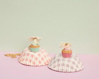 Gold Plated Cupcake Necklace / Vanilla Strawberry Cupcake Pendant / cupcake jewelry / miniature food / scented / fake food / kawaii jewelry