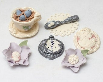 Fondant Tea Party toppers for Spring