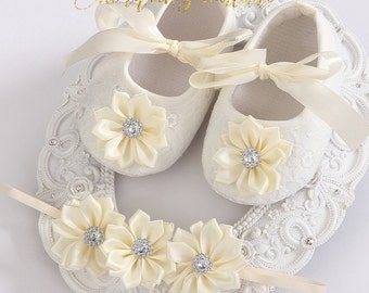 Baby Girls Shoes Ivory Christening Baptism Rhinestone Rosette Shoes with Matching Headband Baby Crib Shoes Baby Shoes