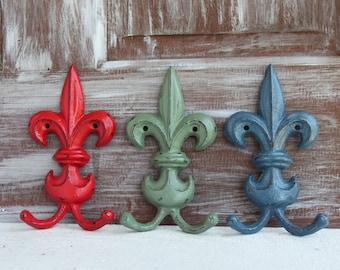 Fleur de lis Wall Hook, Red Sage Green Slate Blue Hooks Decorative Wall Hooks, Coat hooks, Towel Hooks, French Country, Cast Iron Hooks