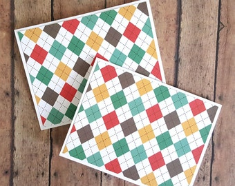 Argyle Greeting Cards, Thinking of You Cards, Just Because Cards, Hello Cards, Colorful Cards, Card Set, Cute Hello Cards, Set of 2