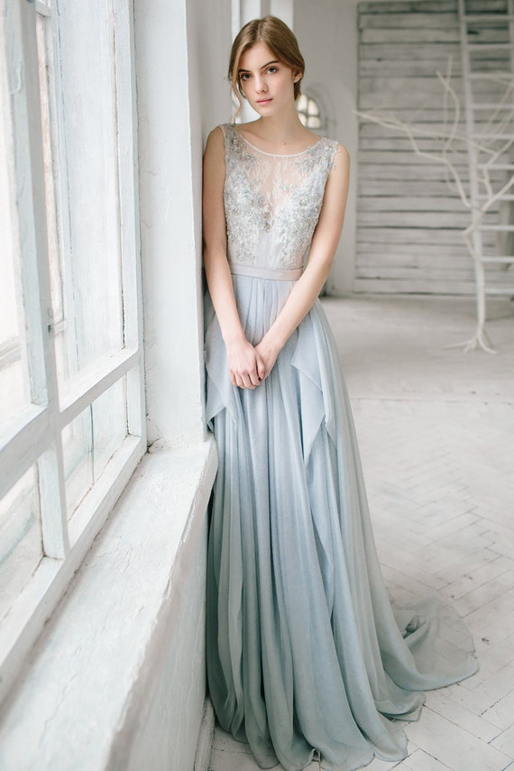 Silver Grey Wedding Dress Lobelia Silk Bridal Gown Open