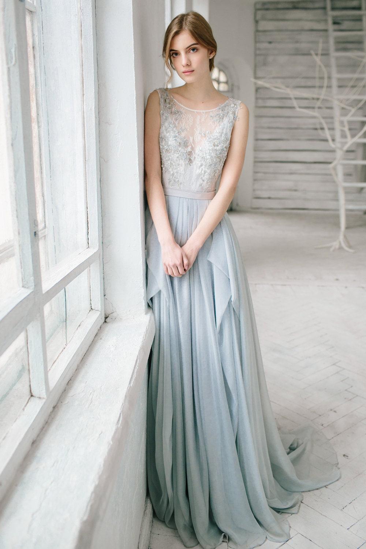 Brautkleid SIlbergrau