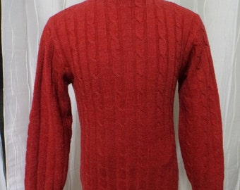 Vintage Red Cable Knit Sweater, 60s 70s Sweater, (Men's: Medium?), Jersild Sweater, Made in Neenah, WI