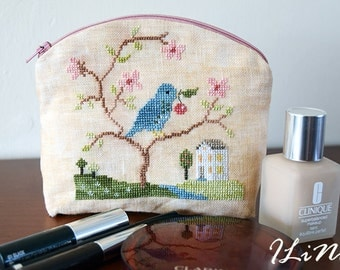 Handmade makeup bag with cherry tree - cross stitched detail