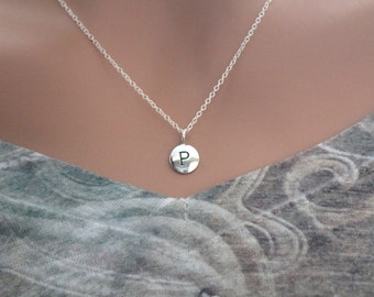 Sterling Silver Simple P Initial Necklace, Silver Stamped P Necklace, Stamped P Initial Necklace, Small P Initial Necklace, P Initial Charm