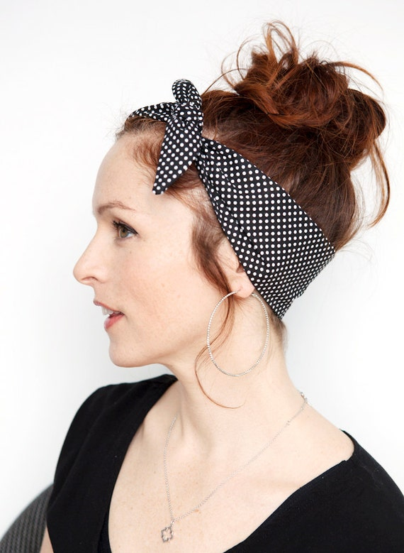 Noir Polka Dot bandeau Dolly Bow Rockabilly noir et blanc Bandana pin,up  rétro cheveux