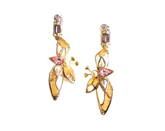 CHRISTIAN LACROIX ~ Authentic Vintage Gold Plated Butterfly Earrings - CL