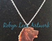 Brown Printed Acrylic Cocker Spaniel Dog Head Necklace on Silver or Gold Crossed Chain