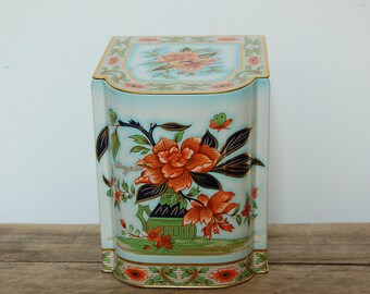 Vintage Floral Tin Container, Metal Container, Beautiful Patterned Metal Lidded Container, Kitchen Collectible, Cottage Chic, Floral Tin