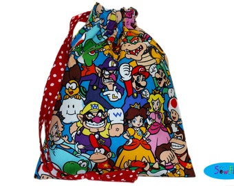 Sock Bag | Knitting Sock Pouch | Sock Drawstring Bag | Project Bag | Nintendo Bag | Mario Brothers Pouch