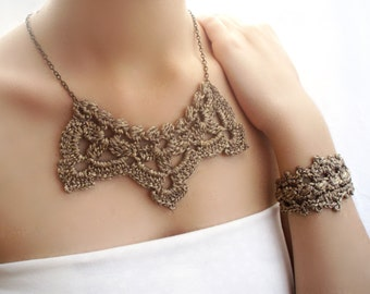 Crochet necklace Gold wedding set Bridal jewelry Wedding necklace