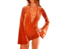 Lace Up Velvet Body Suit with Bell Sleeves