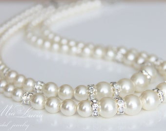 Bridal Jewelry Necklace, Pearl Bridal Necklace, Wedding Jewelry Necklace, Bridal Pearl Necklace, Double Bridal Jewlery Necklace art. n03