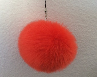 faux fur ONE pom pom, key chain accessories, purse pom pom,