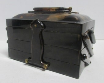 Vintage 1930's Pre World War II Shell Tiered Latch Lock Box w/ Hand Carved Dragon & Handle.