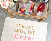 Stop and Smell the Rosé Wine Decorative Kitchen Mat, Funny Kitchen Mat // Hand Painted 18x30 Rose Gold by Be There in Five