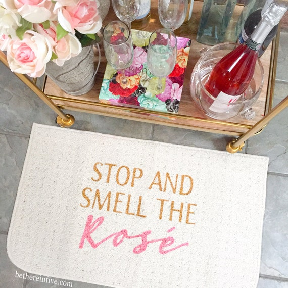 Stop And Smell The Ros 233 Wine Decorative Kitchen Mat Funny