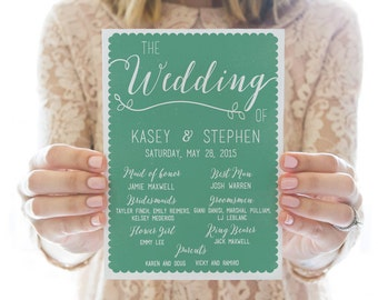 Printed OR Printable Wedding Program // Scallops