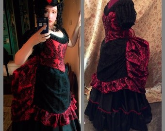 Victorian Bustle Dress Damask Lace Gown Vampire Gothic Steampunk custom size many color choices
