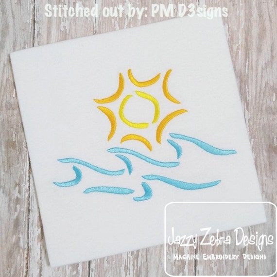 Sun and waves satin stitch outline embroidery design