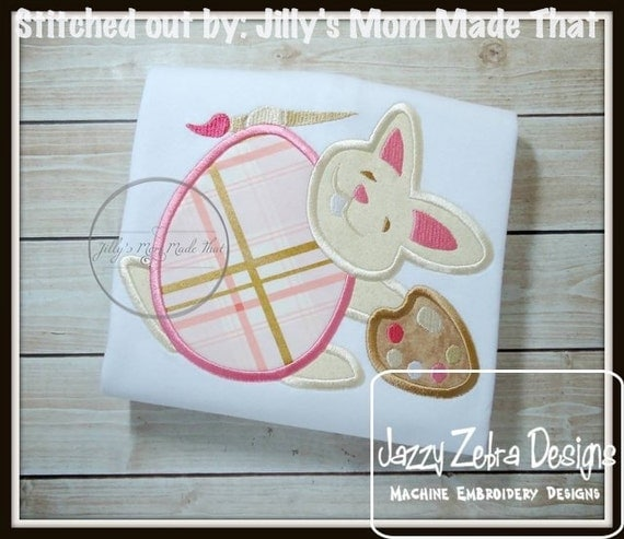 Bunny Painting Egg Applique embroidery Design - Easter appliqué design - rabbit appliqué design - bunny appliqué design