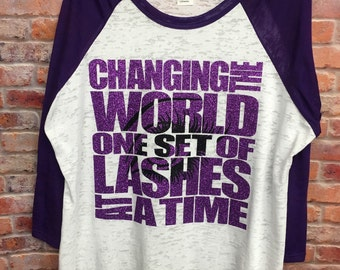 Younique Women's Clothing Changing The World One Set Of Lashes At A TIme Burnout Tee Women's Tops And Tees Women's Shirts Women's T-shirts
