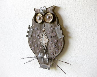 Reclaimed Barn Wood and Salvaged Metal Found Object Assemblage Art Owl